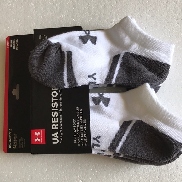 Under Armour UA Resistor 3.0 Youth No Show Socks Size YLG 1-4
